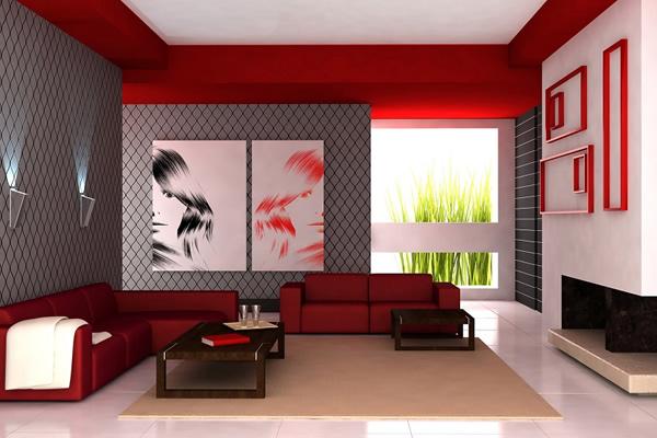Nội thất nhà với gam màu đỏ