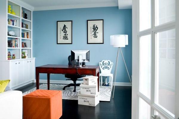 Sơn màu xanh da trời cho không gian phòng làm việc