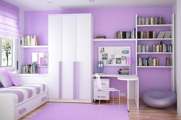 Không gian nhà màu tím nhạt