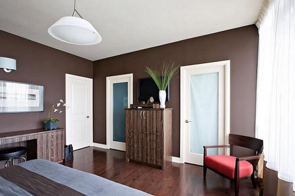 Không gian phòng ngủ màu nâu