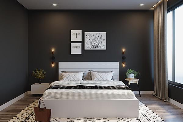 Không gian phòng ngủ màu đen