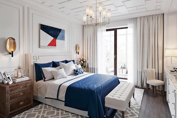 Phòng ngủ màu xám kết hợp trắng