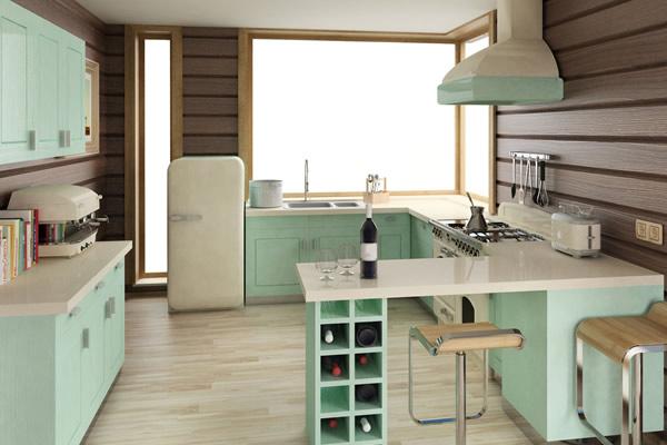 Không gian phòng bếp màu pastel
