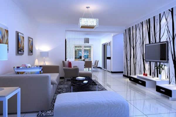 Trang trí phòng khách với màu trắng chủ đạo và đồ nội thất màu xanh