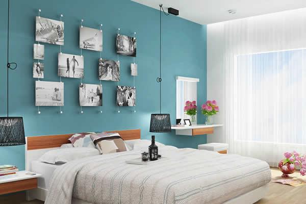 Sơn một mảng tường màu xanh