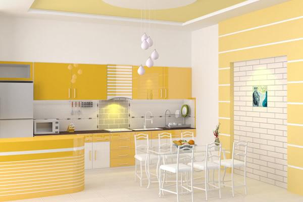 Không gian nhà bếp màu vàng