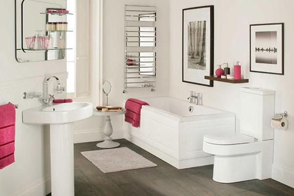 phòng tắm màu đơn săc kết hợp cùng ánh sáng sẽ tạo một không gian hiện đại,