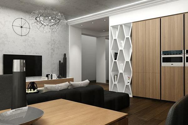 Không gian mới với sự kết hợp đen, trắng và màu của gỗ-2