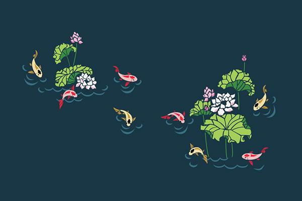 Nổi bật trền xanh sẫm là những chú cá Koi