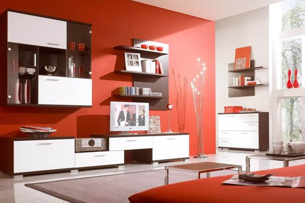 Không gian phòng khách màu đỏ ấn tượng