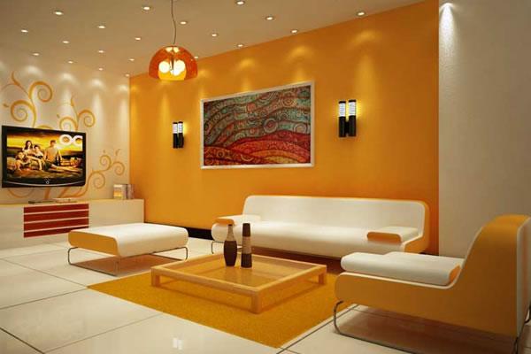 Phòng khách màu cam