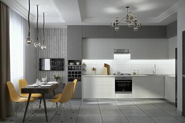 Không gian bếp màu xám-2