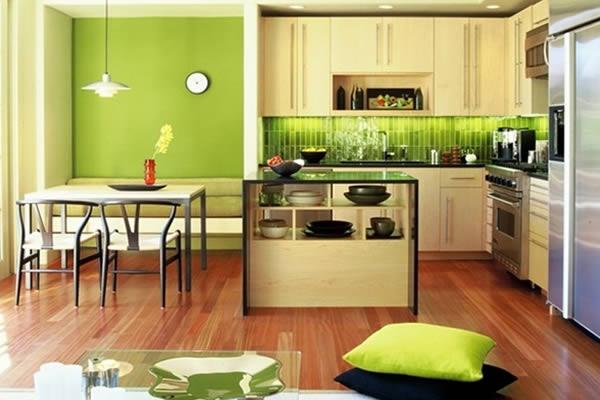 Không gian bếp màu xanh
