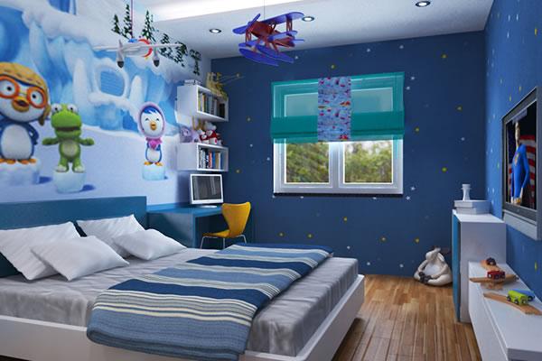 Không gian tone xanh lam cho bé trai