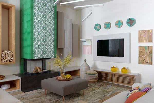 Không gian phòng khách với màu sắc độc đáo