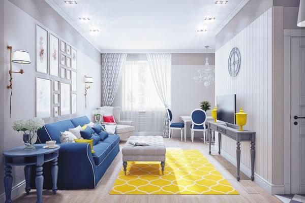 Không gian nhà kết hợp xanh và vàng-1