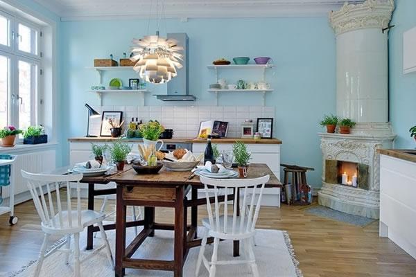 Không gian nội thất màu xanh bạc hà