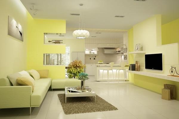 Không gian nhà màu vàng ấn tượng