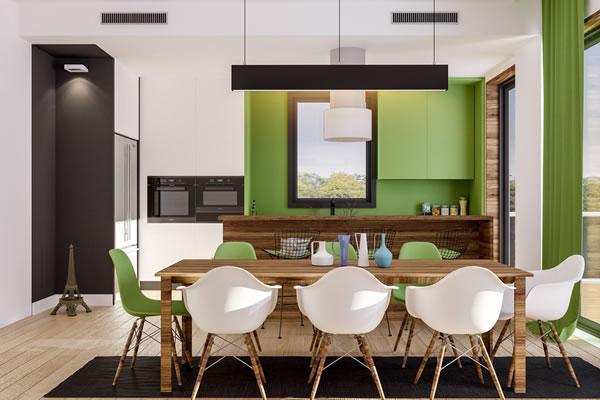 Không gian nhà với sự phối màu xanh lá - trắng hoàn hảo