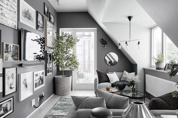 Không gian phòng khách màu xám ghi