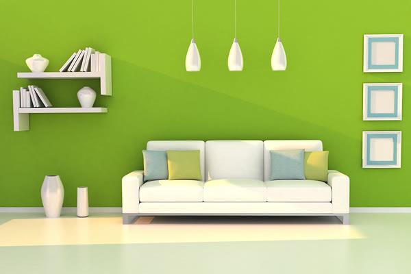 Không gian phòng khách màu xanh lá cây
