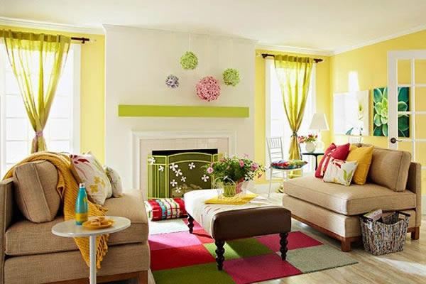 Không gian phòng khách hút ánh nhìn với sự kết hợp hài hòa các màu sắc