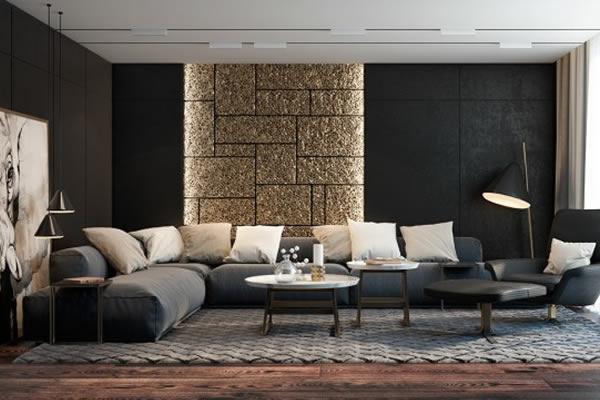 Không gian phòng khách màu đen