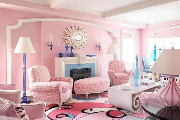 Không gian phòng khách ấn tượng với màu hồng là màu chủ đạo