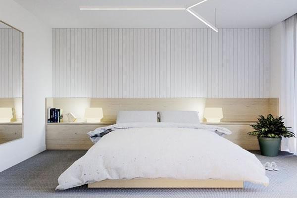 Tường sáng và đồ nội thất gỗ