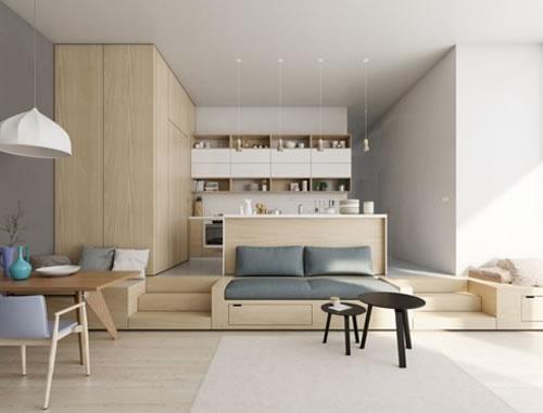 Căn hộ với thiết kế phòng khách liền kề phòng bếp