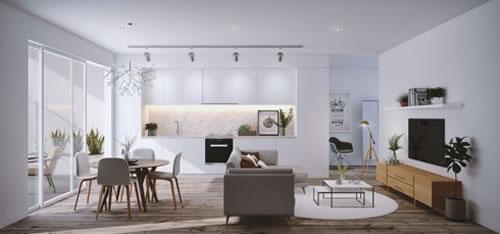 Căn hộ với thiết kế phòng khách liền kề phòng bếp-2