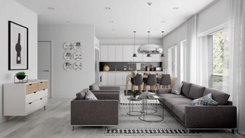 Căn hộ với thiết kế phòng khách liền kề phòng bếp-1