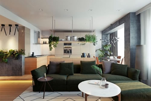 Căn hộ với thiết kế phòng khách liền kề phòng bếp-3