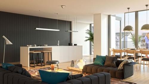 Căn hộ với thiết kế phòng khách liền kề phòng bếp-11