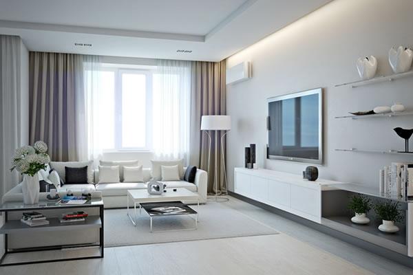 Căn hộ màu trắng với thiết kế phòng khách và nhà bếp liền kề sang trọng tiện nghi-1