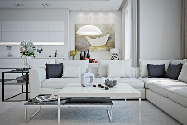 Căn hộ màu trắng với thiết kế phòng khách và nhà bếp liền kề sang trọng tiện nghi-3
