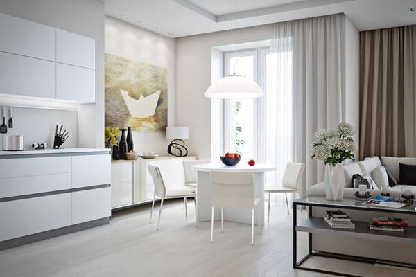 Căn hộ màu trắng với thiết kế phòng khách và nhà bếp liền kề sang trọng tiện nghi-4