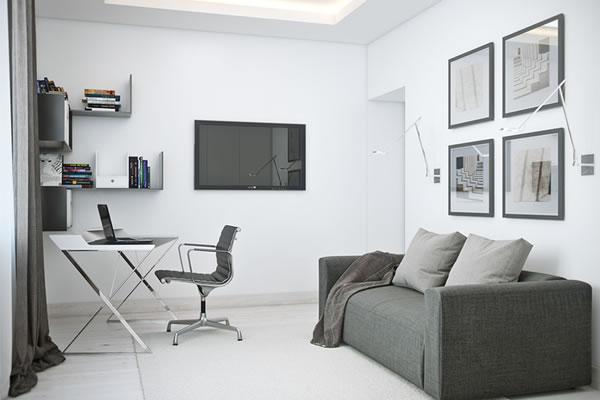 Căn hộ màu trắng với thiết kế phòng khách và nhà bếp liền kề sang trọng tiện nghi-5