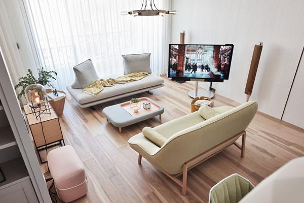 Sự kết hợp hoàn hảo giữa màu pastel và sàn gỗ