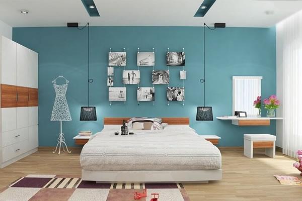 Phòng ngủ sơn tường màu xanh lam