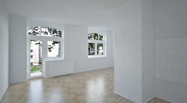 Căn hộ với những bức tường sơn màu trắng