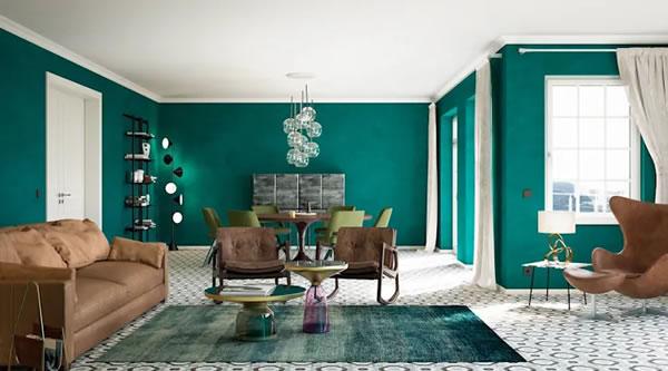Căn hộ với những bức tường màu xanh ngọc nổi bật