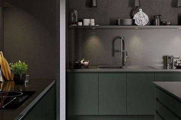 Không gian nhà bếp màu xanh lục đậm