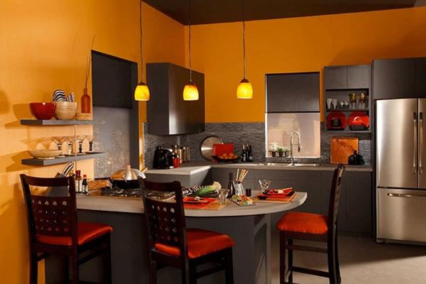 Không gian bếp màu cam