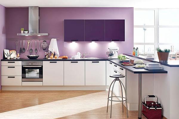 Phòng bếp màu tím đẹp