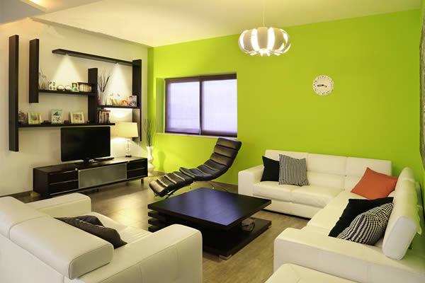 Phòng khách màu xanh nõn chuối