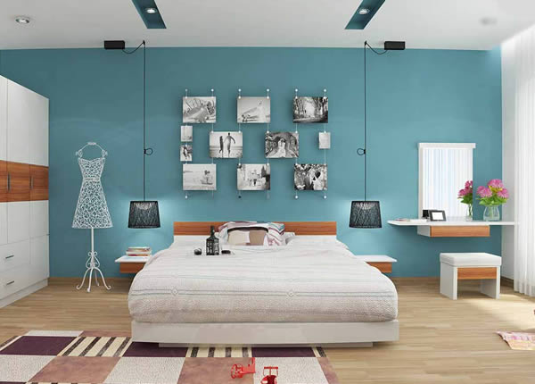 Sơn nội thất phòng ngủ màu xanh dương