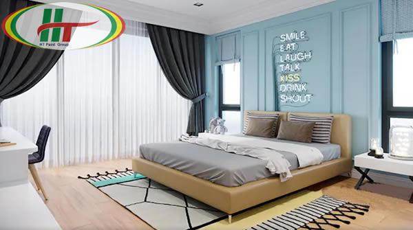 Phòng ngủ màu xanh lam nhạt trẻ trung