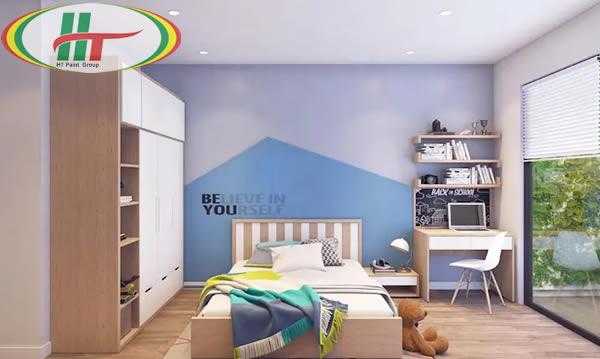 Phòng ngủ màu xanh da trời ánh tím ấn tượng