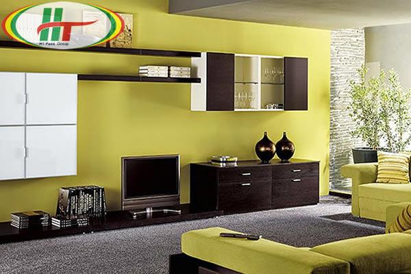 Gợi ý sơn nội thất phòng khách màu vàng chanh ấn tượng-1
